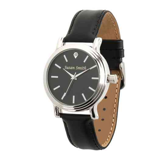 PW00237: Ladies Personalized Black Leather Band Watch