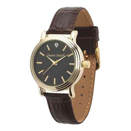 PW00238: Ladies Personalized Brown Embossed Leather Band Watch