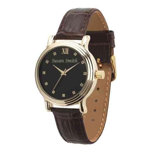 PW00242: Ladies Personalized Brown Embossed Leather Band Watch