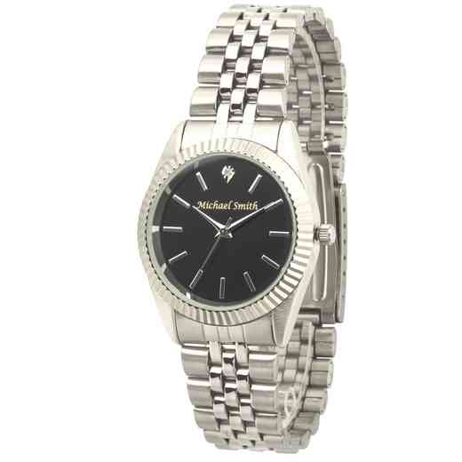 PW00243: Men's Personalized Silver Tone Black Face Watch