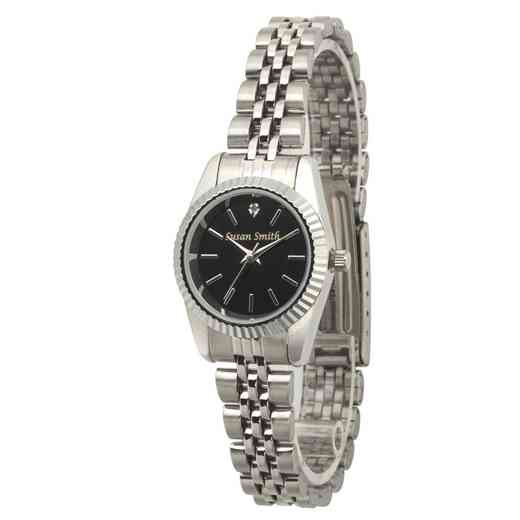 PW00245: Ladies Personalized Silver Tone Black Face Watch