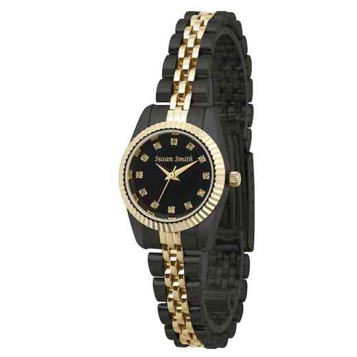 PW00248: Ladies Personalized Two Tone Black/Gold Watch