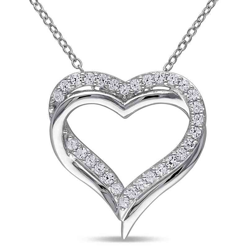 BAL000407:  White Sapphire Double Heart Necklace  Sterlg Silver