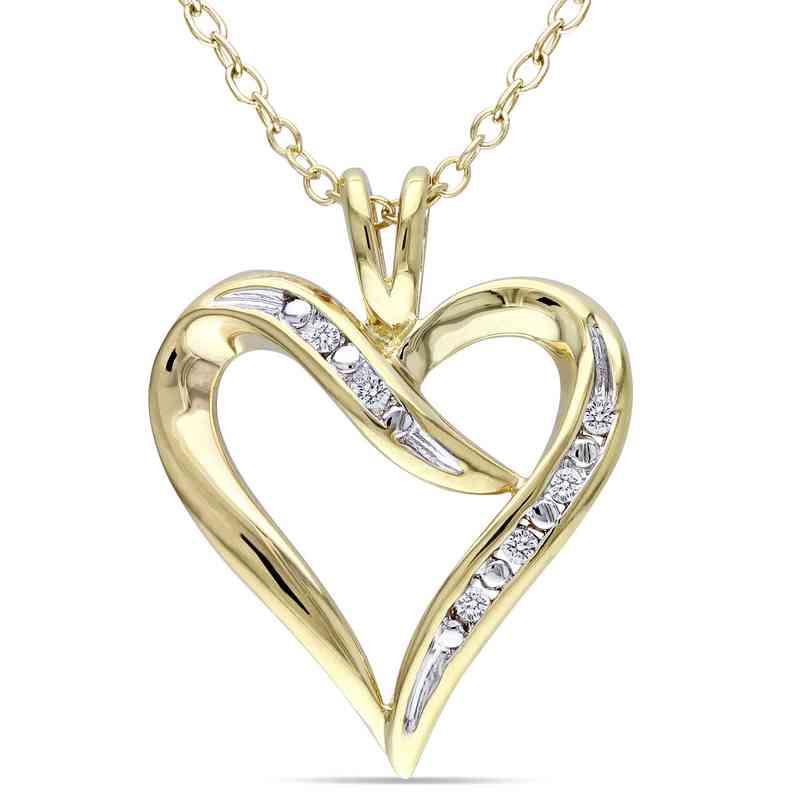 BAL000401: Diamond-Accent Heart Necklace Yllw Pltd SS