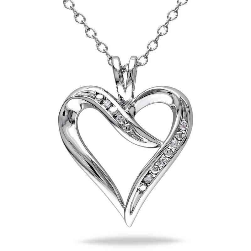 Diamond accent heart necklace in sterling silver aloadofball Image collections