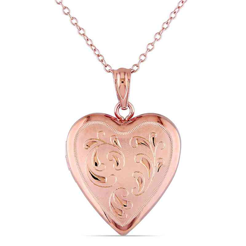 BAL000435: Engraved Heart Locket Necklace Polished Rose Plated SS