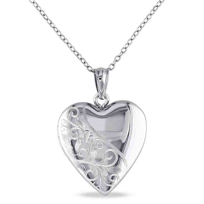 BAL000434: Engraved Heart Locket Necklace Polished Sterling Silver