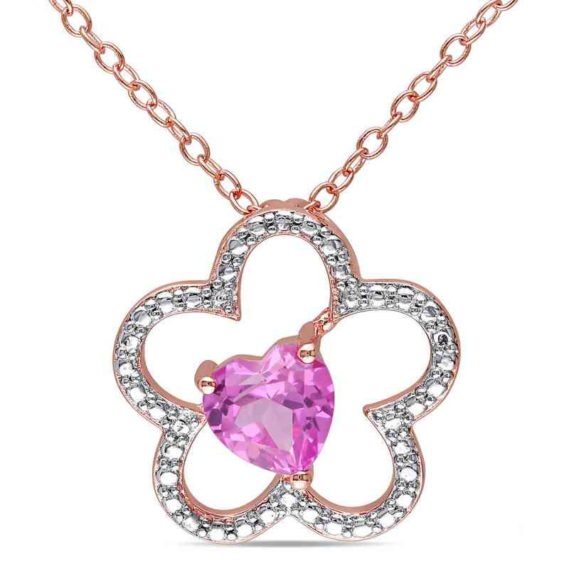 BAL000175:  Pnk Sapphire Flower Heart Necklace Rose Pltd SS