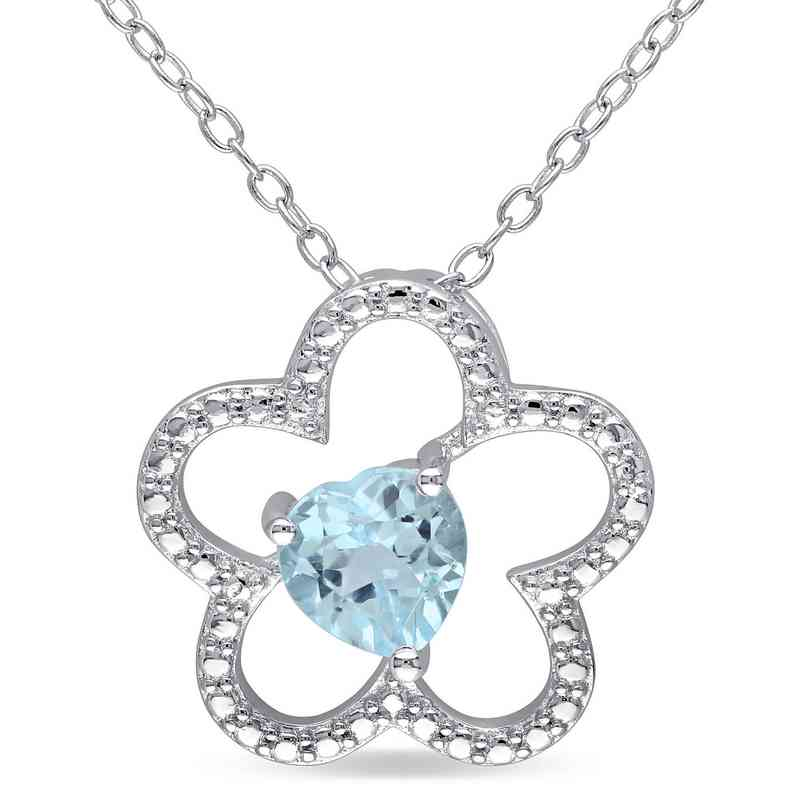 BAL000176: Blue Topaz Flower Heart Necklace in Sterling Silver