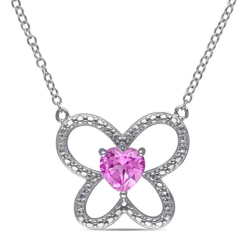 BAL000182:  Pink Sapphire Butterfly Heart Necklace SS
