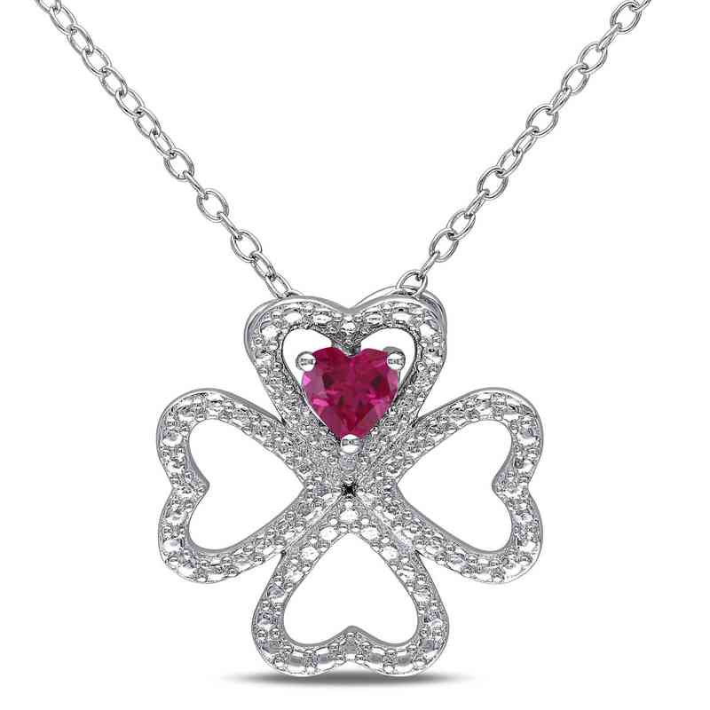 BAL000177:  Ruby Clover Heart Necklace in Sterling Silver