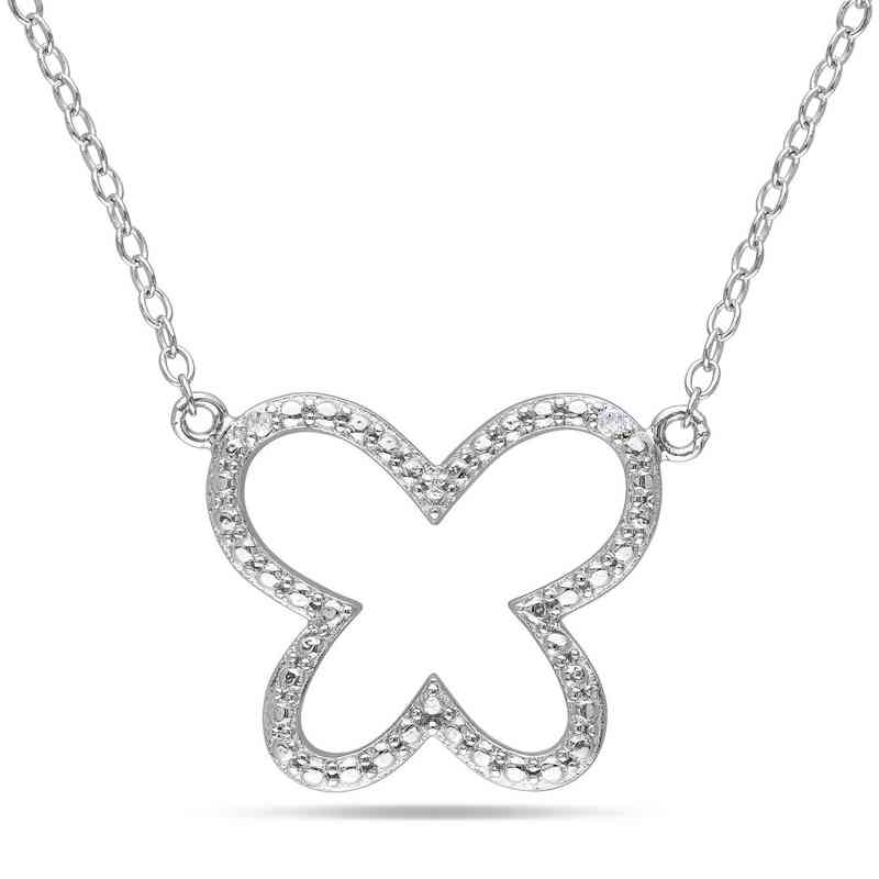 BAL000169: Diamond-Accent Butterfly Necklace  Sterlg Silver