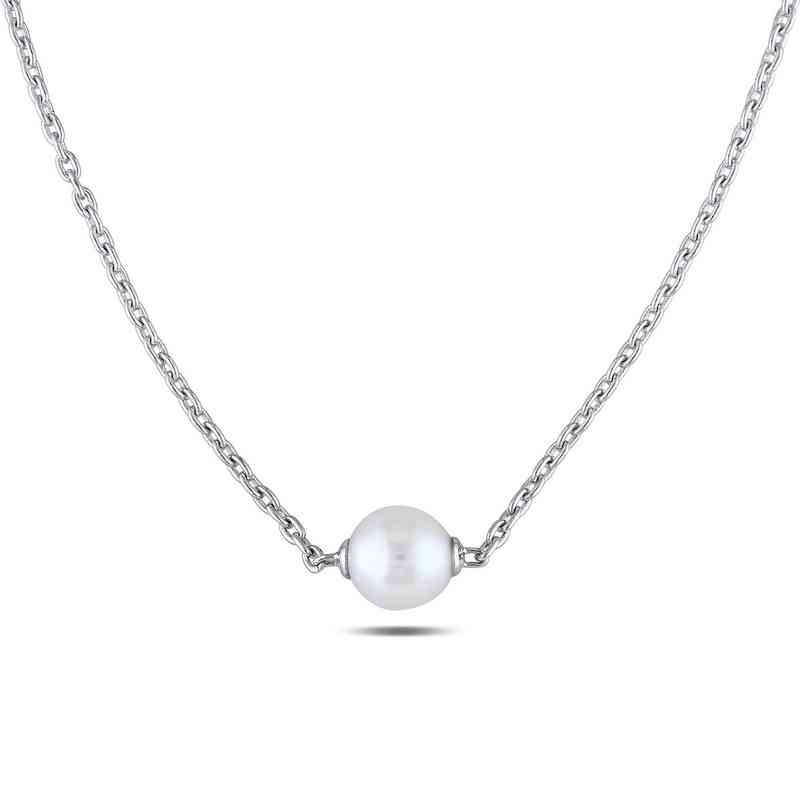 1118588b46f66 White cultured freshwater Pearl Necklace in Sterling Silver