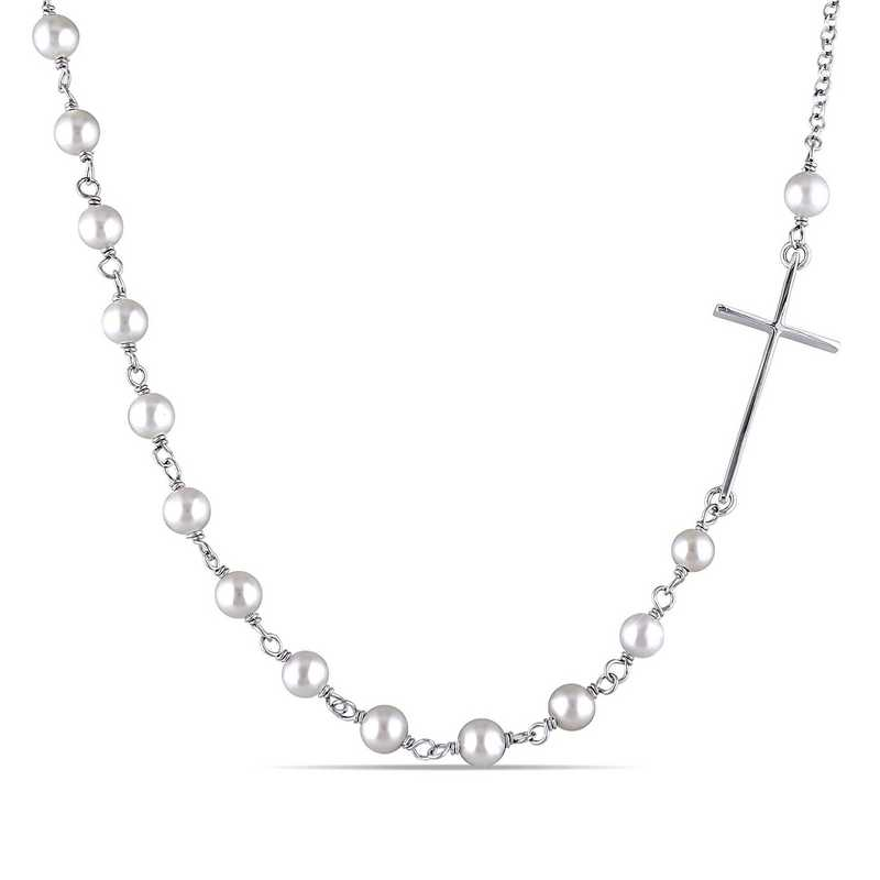 BAL000491: Freshwater Cultured Pearl Cross Necklace SS