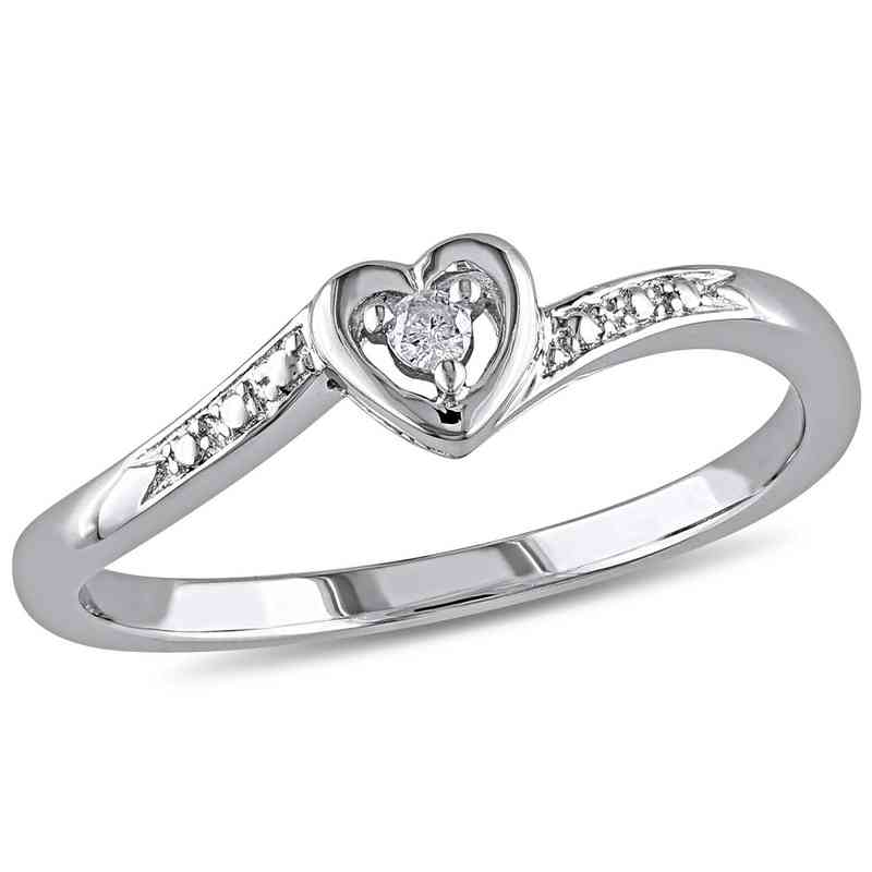 24bcc08838 Diamond-Accent Heart Ring in Sterling Silver