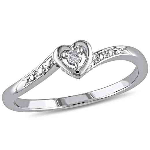 Diamond-Accent Heart Ring in Sterling Silver