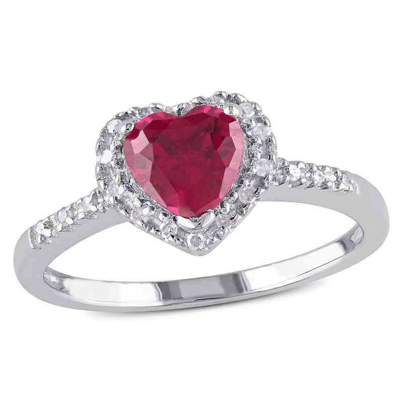 Created Ruby and Diamond-Accent Heart Halo Ring in Sterling Silver