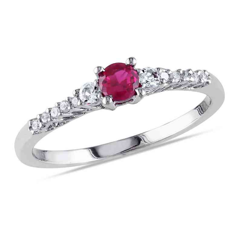 Created Ruby-Created White Sapphire and Diamond-Accent Ring in Sterling Silver