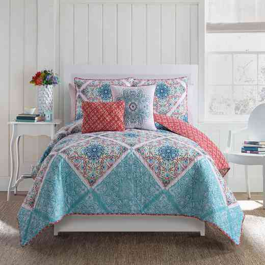WIN-4QT-XTWN-IN-MU: VCNY Windsor 4 Piece Quilt Set - XL Twin - Multicolored