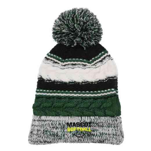 Softball Embroidered  Sport-Tek Pom Pom Knit Beanie