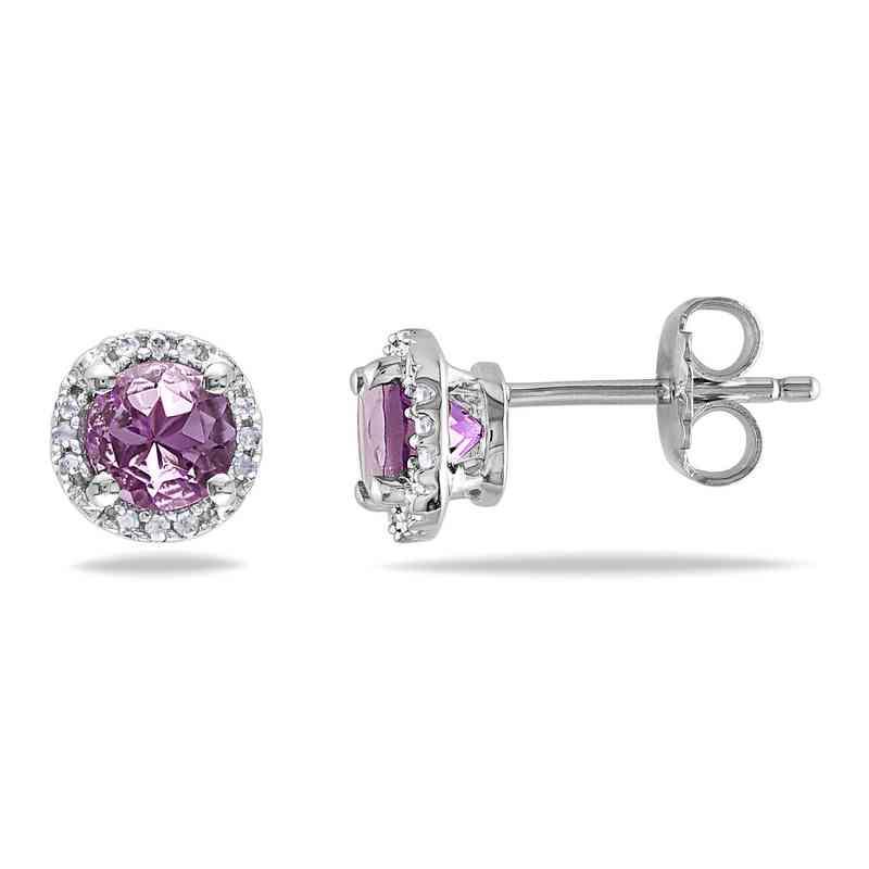 BAL000521: Amethyst / Diamond Halo Stud Earrgs  SS
