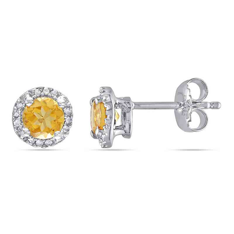 BAL000520: Citre / Diamond Halo Stud Earrgs  SS