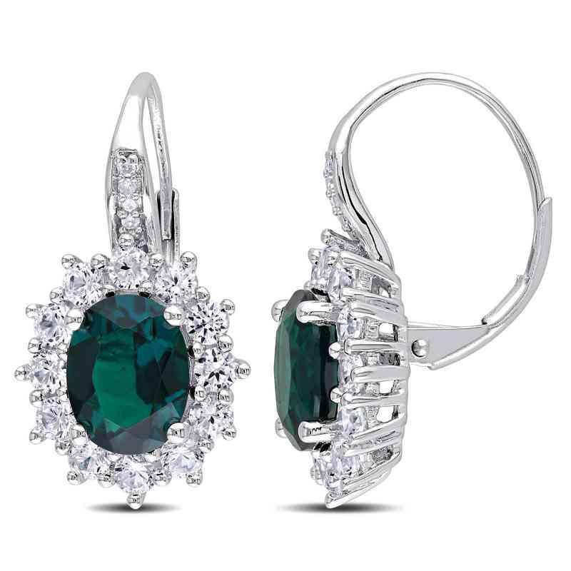 BAL000546: Created Emerald / Wht Sapphire Leverback Earrgs  SS