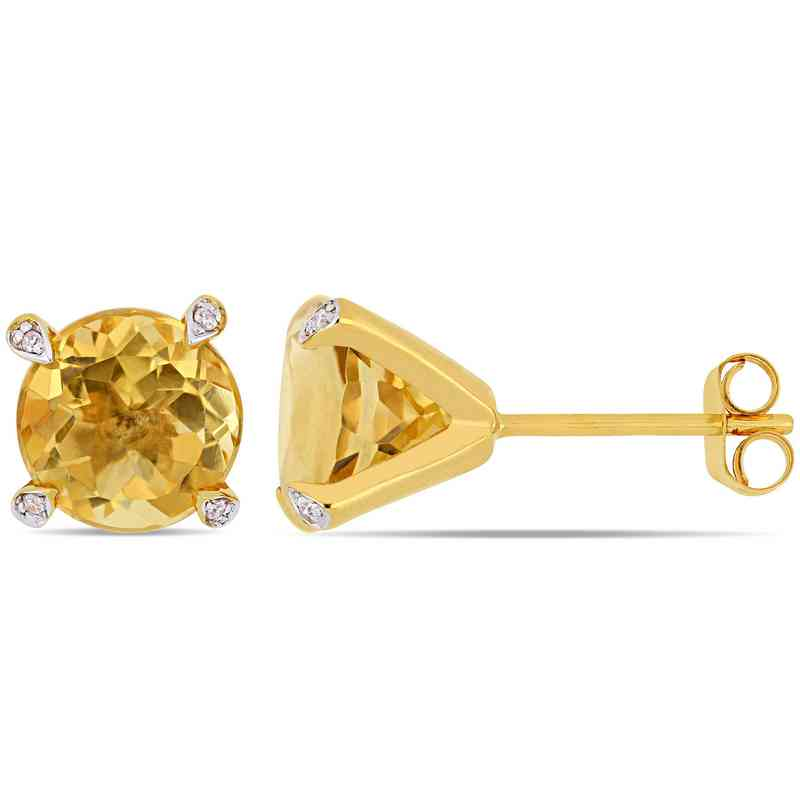58e984bc9c4e2 Citrine and Diamond-Accent Stud Earrings in 10k Yellow Gold