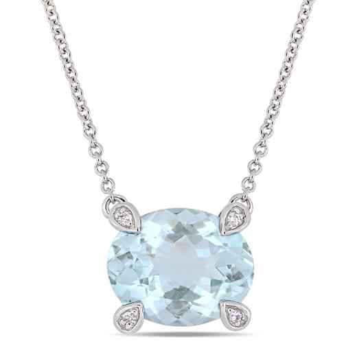 BAL000574: Aquamare / 1/10 CT TW Diamond Necklace  10k Wht Gold