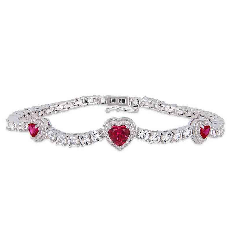 BAL000584: Created Ruby / Wht Sapphire Triple Heart Bracelet  SS