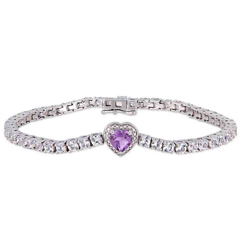 BAL000558: Amethyst / Created Wht Sapphire Heart Bracelet  SS