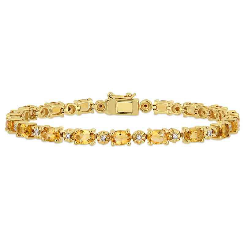 BAL000551: Citre / Diamond Accent Bracelet  Yellow Plated SS