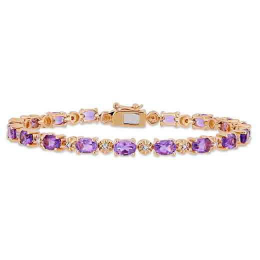 BAL000552: Amethyst / Diamond Accent Bracelet  Rose Plated SS