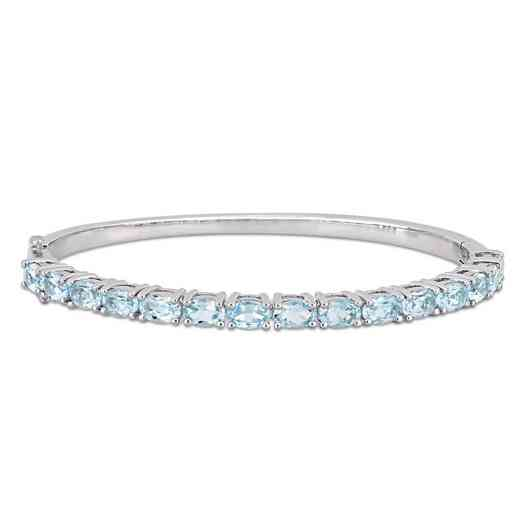 BAL000582: 7-1/2 CT TGW Oval-Cut Sky-Blue Topaz Bangle  SS