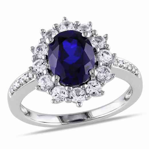 Created Blue and White Sapphire Diamond-Accent Oval Halo Ring in Sterling Silver