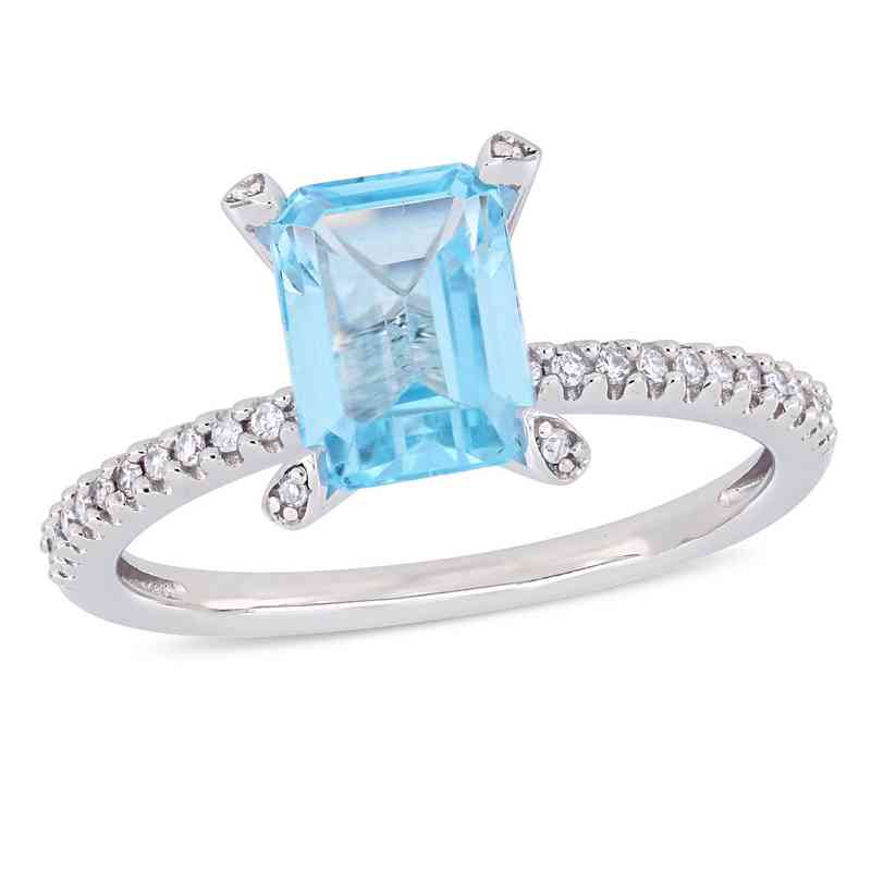 1/10 CT. T.W. Diamond and Octagon Blue Topaz Ring in 10k White Gold