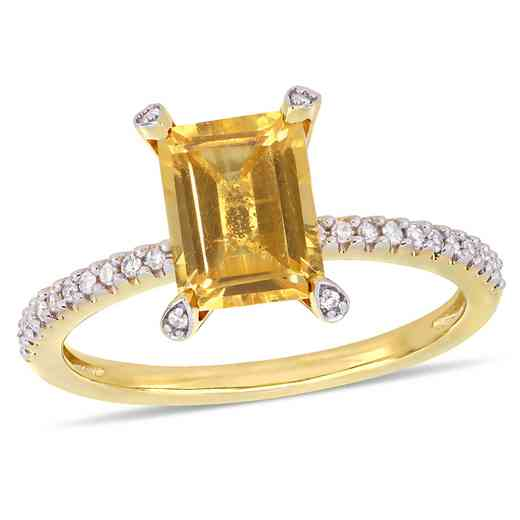 1/10 CT. T.W. Diamond and Octagon Citrine Ring in 10k Yellow Gold