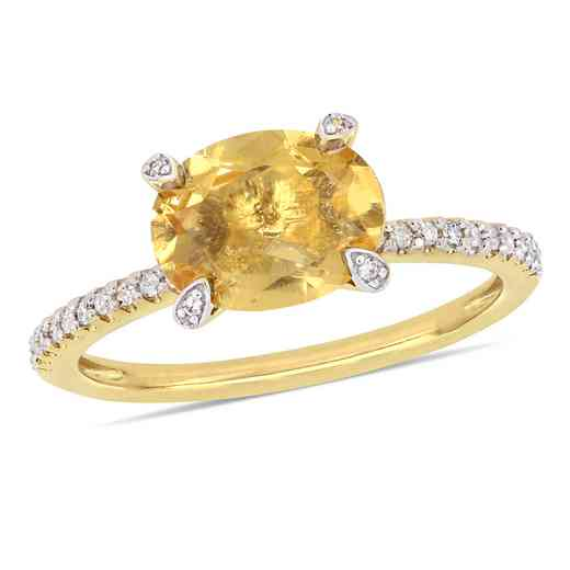 1/10 CT. T.W. Diamond and Oval Citrine Ring in 10k Yellow Gold