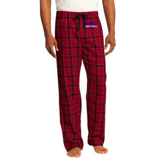 Softball Embroidered Young Men's Flannel Plaid Pant