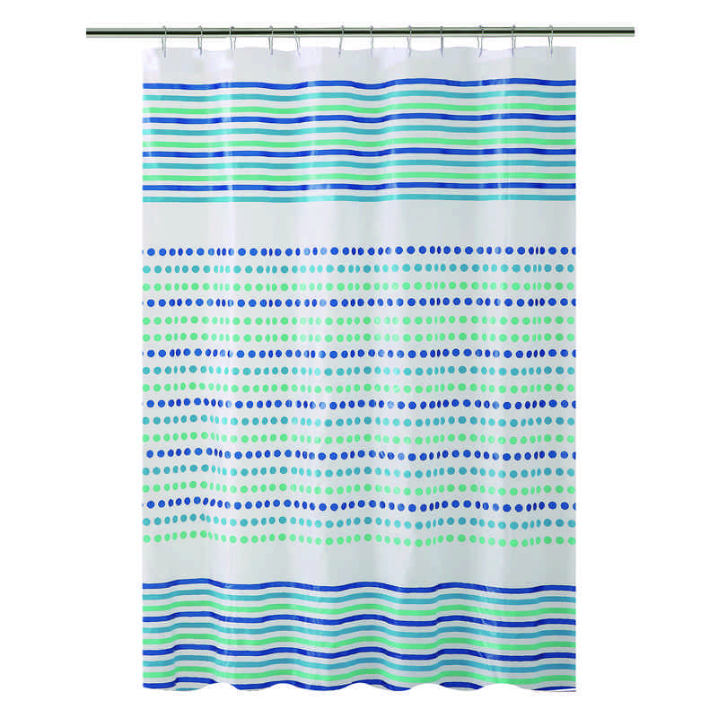 Bath Bliss Shower Curtain In Blue Green Dot Design
