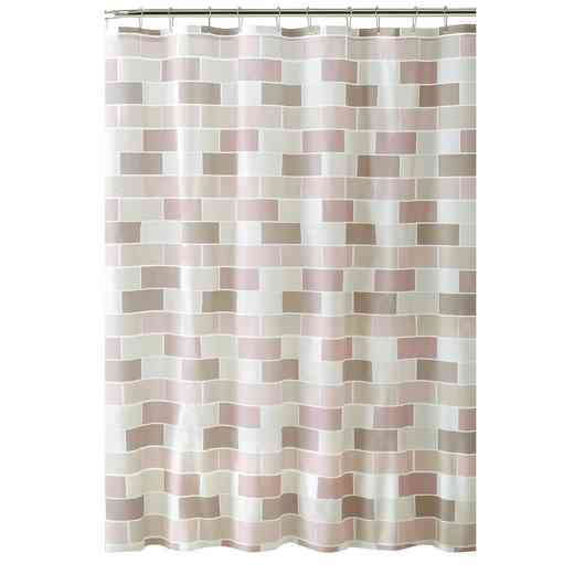 5400: KEN Peva 13pc Shower Curtain/Hooks ST   Tile Design