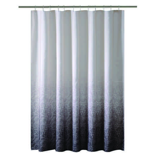 5406-BLACK : KEN Shower Curtain -Ombre  Printed Polyester 70x72 - BLK