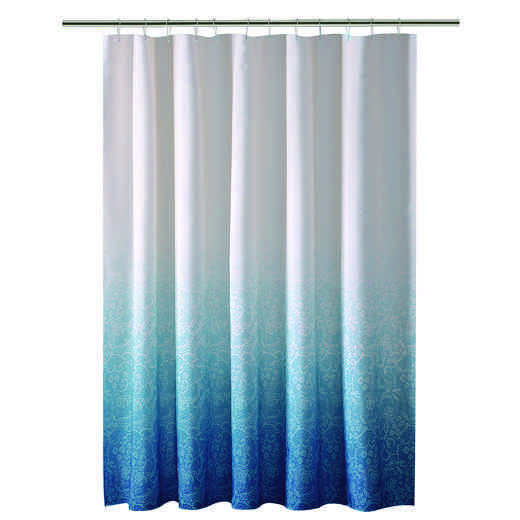 5406-BLUE : KEN Shower Curtain -Ombre  Printed Polyester 70x72 - BLU