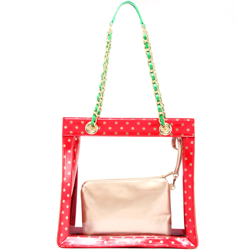 H150330-17-RR-GO-FRNGR: Andrea Clear Tailgate Tote RR-GO-FRNGR