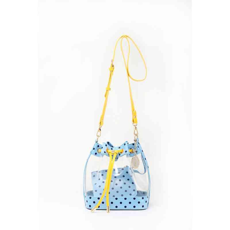 47a6479e2183 Sarah Jean Clear Bucket Handbag Lt Blue and Navy Blue-Yellow Gold