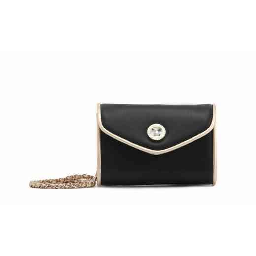H150330-11-BLK-GO: Eva Clutch Handbag  BLK/GO