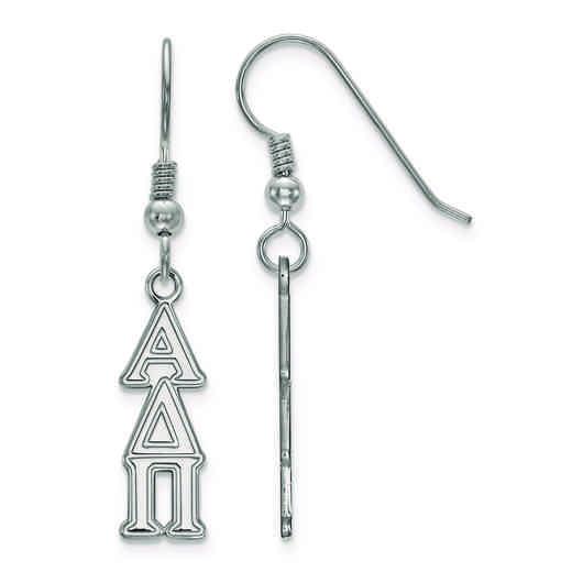 SS026ADP: Strlng Slvr LogoArt Alpha Delta Pi Small Dangle Earrings