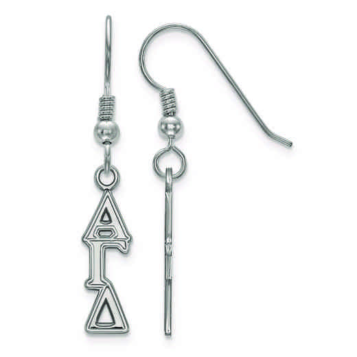 SS026AGD: Strlng Slvr LogoArt Alpha Gamma Delta Small Dangle Earrings
