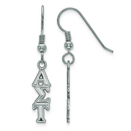 SS026ALS: Strlng Slvr LogoArt Alpha Sigma Tau Small Dangle Earrings