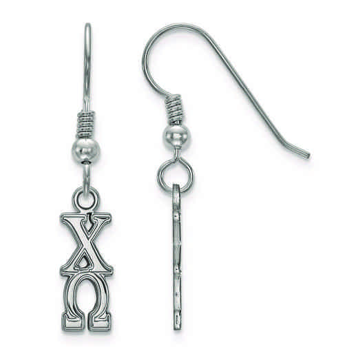 SS026CHO: Strlng Slvr LogoArt Chi Omega Small Dangle Earrings